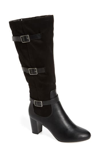 Bella Vita Talina Ii Belted Knee High Boot, Wide Calf- Black