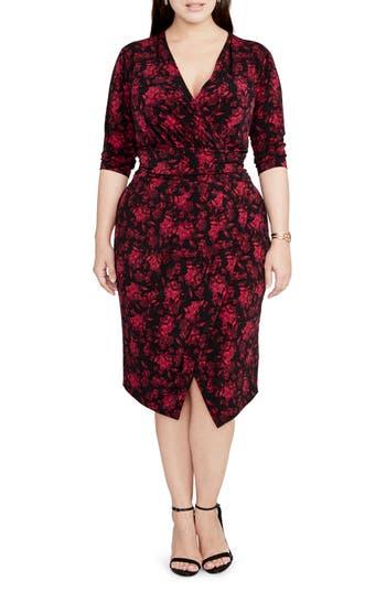 Plus Size Rachel Rachel Roy Print Wrap Front Jersey Dress, Red