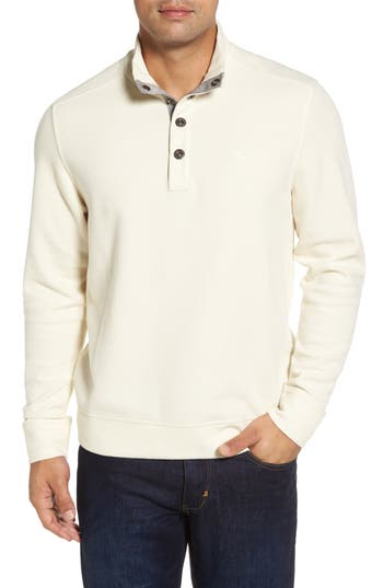 Tommy Bahama Cold Springs Snap Mock Neck Sweater, White