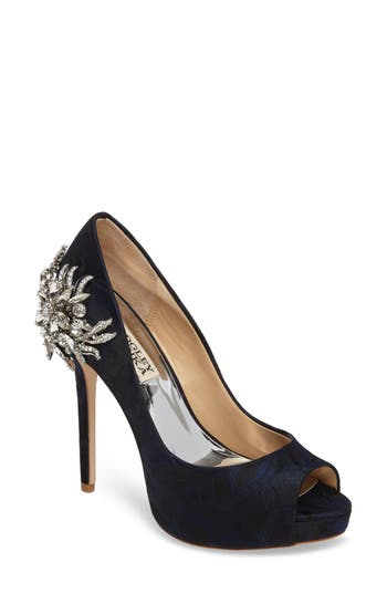 Badgley Mischka Marcia Embellished Peep Toe Pump- Blue