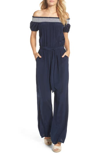 Tory Burch Misty Smocked Silk Cover-Up Jumpsuit, Blue