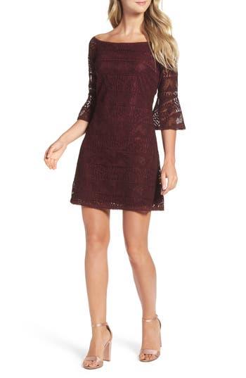 Nsr Off The Shoulder Lace Dress, Burgundy