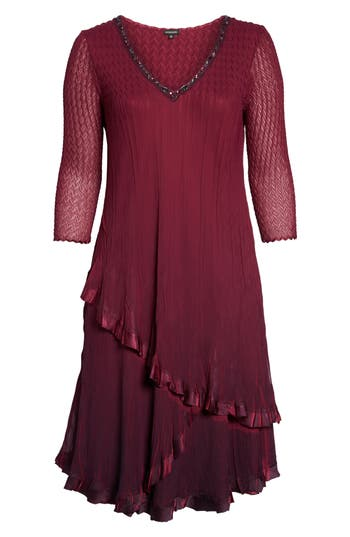 Plus Size Komarov Tiered Ombre Charmeuse & Chiffon Dress, Red