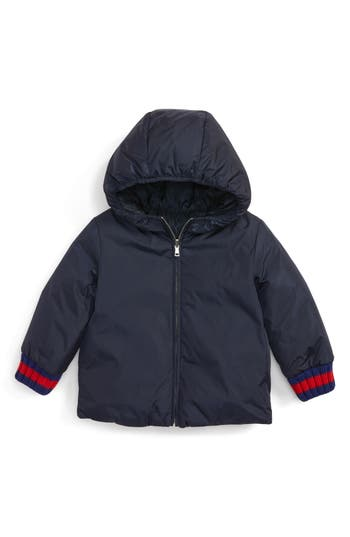 Infant Gucci Reversible Gg Jacquard Water-Resistant Down Jacket, Blue