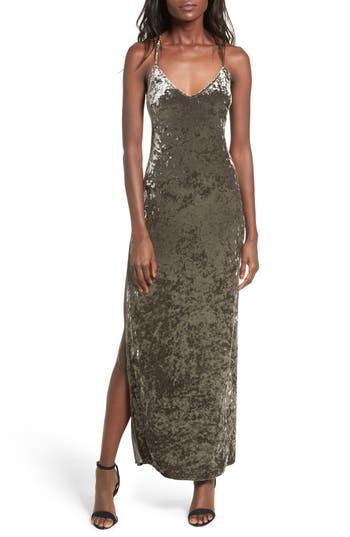 Nbd In The Deep Velvet Maxi Dress, Grey