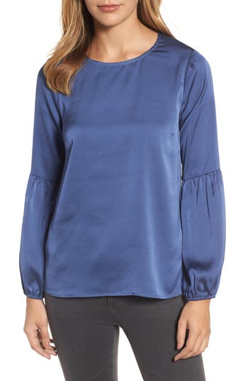 Women's Bobeau Bubble Sleeve Satin Top, Size XX-Small - Blue