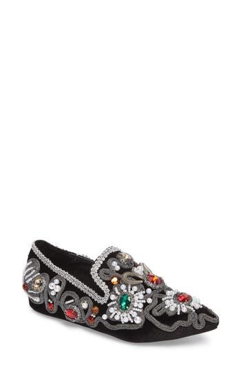 Women's Jeffrey Campbell Horatio Embellished Loafer, Size 10 M - Black