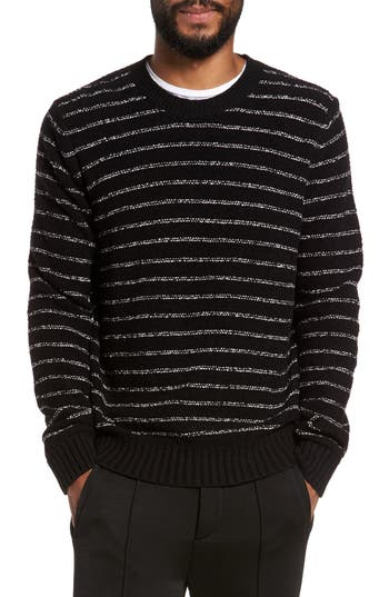 Vince Stripe Merino Sweater, Black