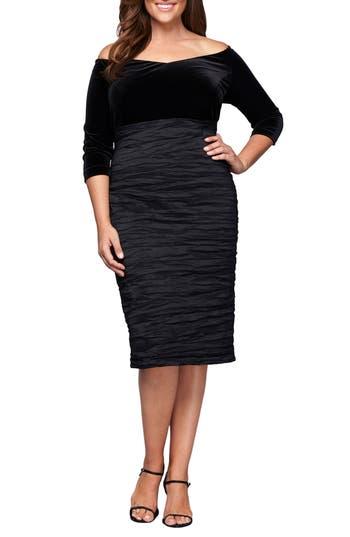 Plus Size Alex Evenings Velvet Bodice Sheath Dress, Black