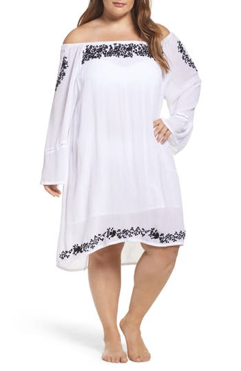 Plus Size Muche Et Muchette Cleopatra Off The Shoulder Cover-Up Dress, Size One Size - White