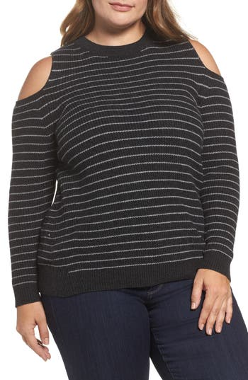 Plus Size Women's Lucky Brand Cold Shoulder Stripe Sweater, Size 1X - Grey