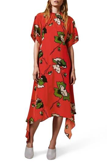 Topshop Boutique Poppy Godet Silk Dress, US (fits like 2-4) - Red