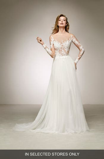 Pronovias Datil Illusion Tulle A-Line Gown, Size IN STORE ONLY - Ivory