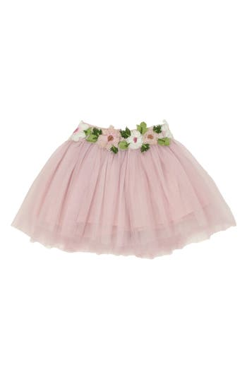 Toddler Girls Popatu Floral Embellished Tulle Skirt Size S (34T)  Pink