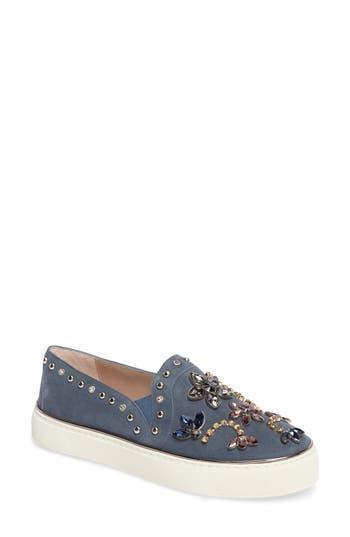 Stuart Weitzman Embellished Slip-On Sneaker- Blue