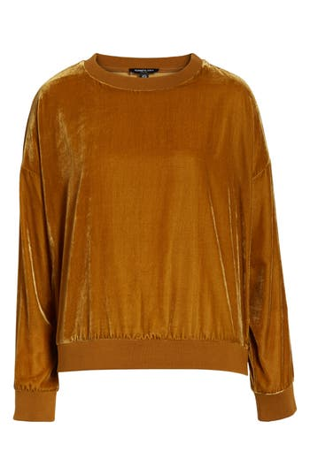 Kenneth Cole New York Zipper Velvet Sweatshirt, Metallic
