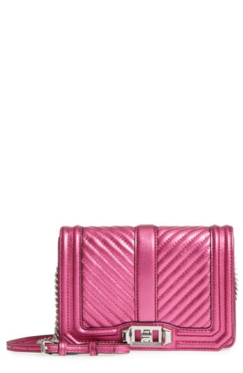 Rebecca Minkoff Small Love Metallic Leather Crossbody Bag - Pink
