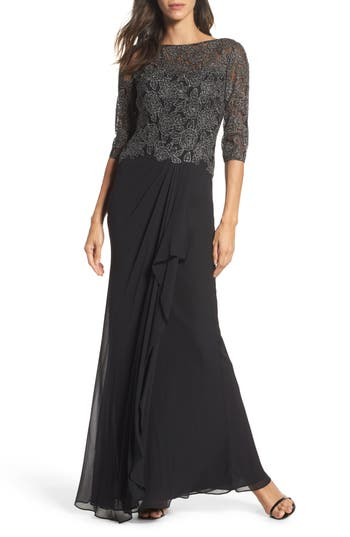 La Femme Metallic Embroidered A-Line Gown, Black