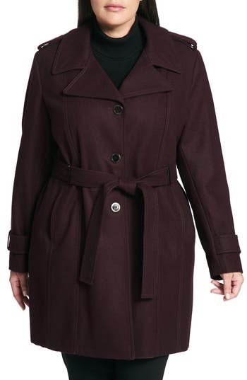Plus Size Calvin Klein Single Breasted Wool Blend Trench Coat, Burgundy
