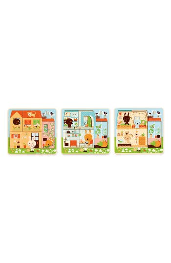 Toddler Djeco 3-Layers Wooden Chez-Carot Puzzle