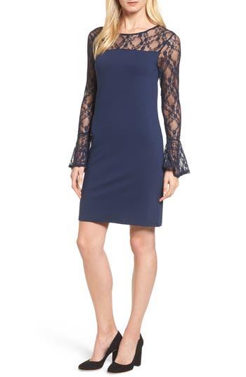 Bobeau Flared Cuff Lace Sleeve Dress, Blue