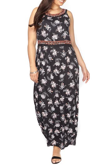 Plus Size Evans Embroidered Floral Maxi Dress, US / 18 UK - Black