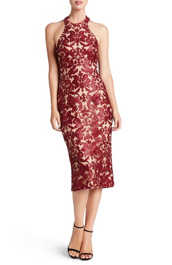 Dress The Population Cassie Sequin Midi Dress, Red