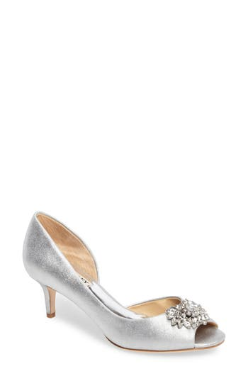 Badgley Mischka Macie Peep Toe D-Orsay Pump, Metallic