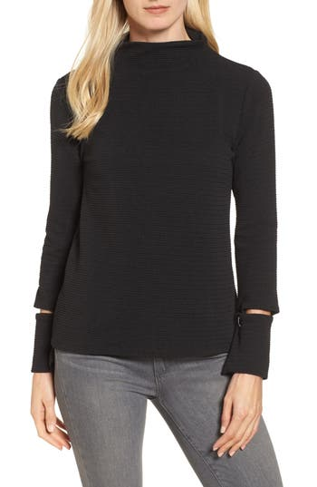 Women's Bobeau Split Cuff Top, Size Small - Black