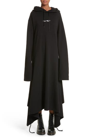 Women's Vetements Hoodie Wrap Dress, Size X-Small - Black