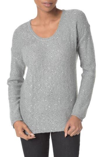 Women's Nydj Sequin Scoop Neck Sweater, Size XX-Small - Grey