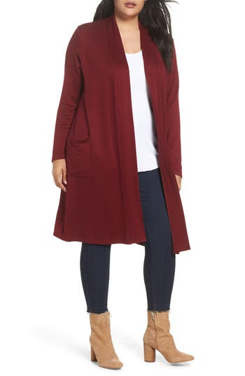 Plus Size Women's Bobeau Two-Pocket Stretch Cardigan, Size 1X - Burgundy