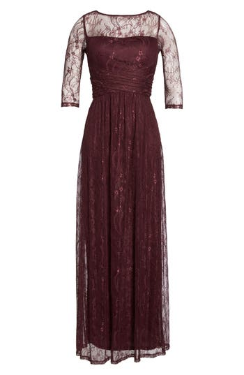 Ellen Tracy Pleat Waist Lace Gown, Red