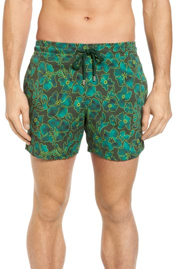 Vilebrequin Natural Flowers Swim Trunks, Green