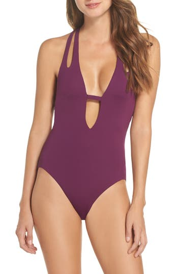 Becca Color Code Plunge One-Piece Swimsuit, Purple