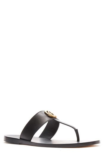 Gucci Marmont Double G Leather Thong Sandal