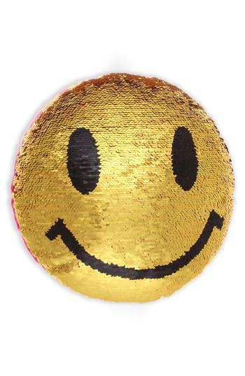 Capelli New York Sequin Emoji Pillow, Size One Size - Metallic