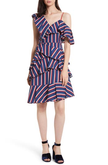 Women's Alice + Olivia Laflora Aymmetrical Ruffle Midi Dress, Size 0 - Blue