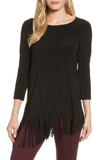 Women's Chaus Asymmetrical Fringe Hem Top, Size Small - Black