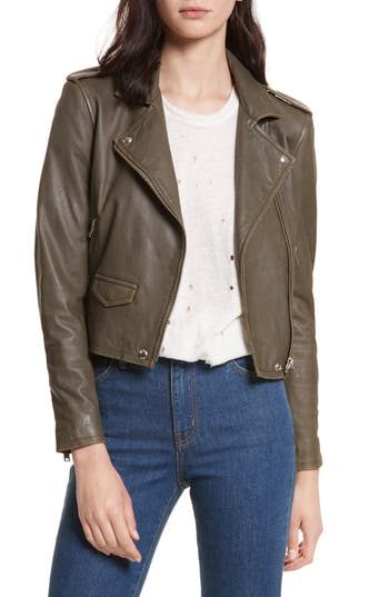 EAN 3662091009361 product image for Women's Iro 'Ashville' Leather Jacket, Size 8 US / 40 FR - Beige | upcitemdb.com