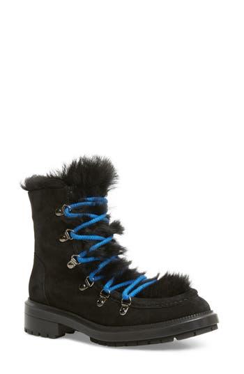 Aquatalia Leni Weatherproof Boot With Genuine Shearling Trim- Black