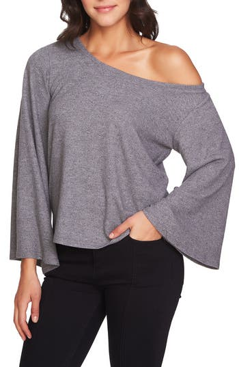 Women's 1.state The Cozy Bell Sleeve One Shoulder Top, Size X-Small - Grey