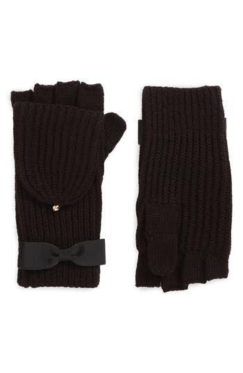 Kate Spade New York Grosgrain Bow Convertible Knit Mittens, Size One Size - Black
