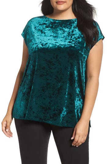 Plus Size Vince Camuto Crushed Velvet Top, Green