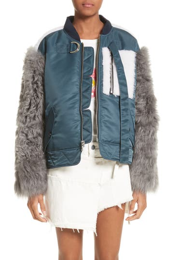 Sandy Liang Peter Genuine Shearling Sleeve Jacket, US / 40 FR - Blue