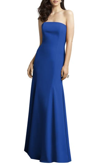Dessy Collection Strapless Crepe Trumpet Gown, Blue