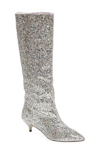 Kate Spade New York Olina Glitter Knee High Boot, Metallic