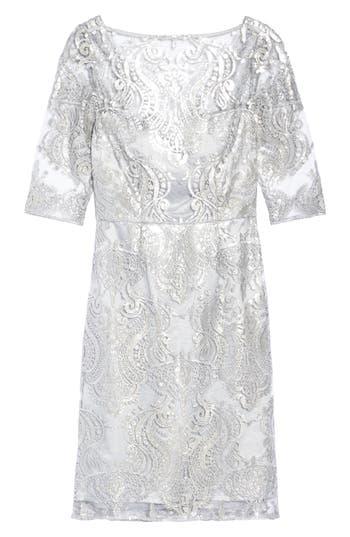Tahari Sequin Illusion Sheath Dress, Metallic