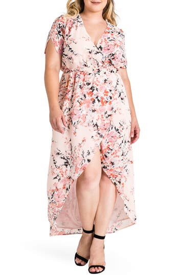 Plus Size Women's Standards & Practices Robin Wrap Maxi Dress, Size 1X - Pink