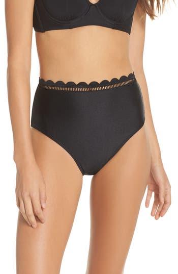 Ted Baker London Scallop High Waist Bikini Bottoms, Black